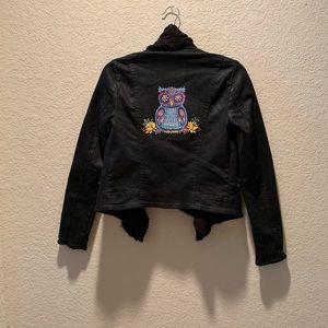 Free People black coated owl jacket, size 2